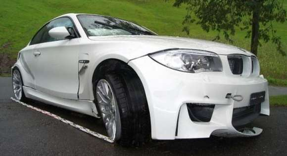 car crash third bmw 1 series m coupe crashed in switserland glo