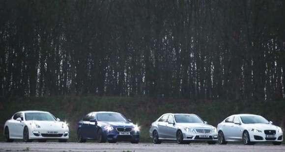 BMW M5, Mercedes E63 AMG, Porsche Panamera S i Jaguar XFR w pojedynku na 1000 m