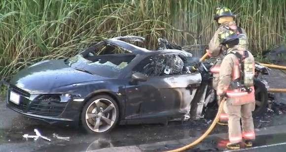 Audi R8 spaliło się na autostradzie
