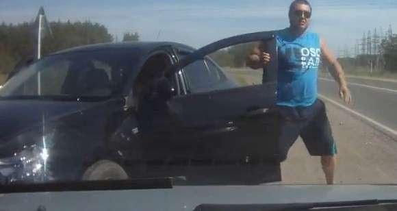 Bójka na drodze w Rosji
