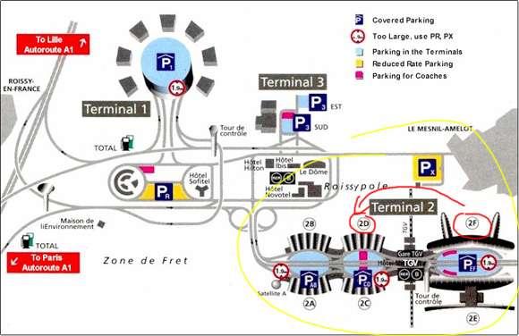 Mapa Paris Charles De Gaulle Airport